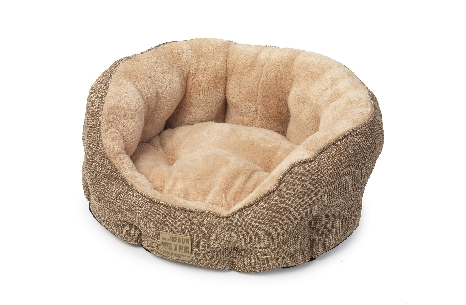 Natural Fawn & Plush Oval Bed